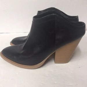 DV Dolce Vita Black Faux Leather Mule Ankle Bootie
